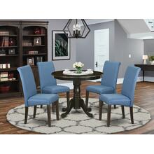 5Pc Small Round table with linen Blue fabric dining chairs with cappuccino chair legs