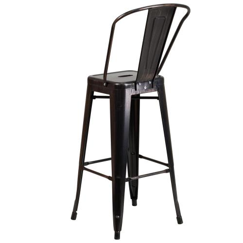 30'' High Black-Antique Gold Metal Indoor-Outdoor Barstool with Back