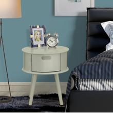 Round Night Stand End Table With Drawer in Urban Gray Finish