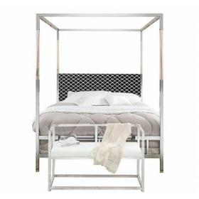 ACME Raegan Queen Bed (Canopy) - 22660Q - Fabric & Chrome