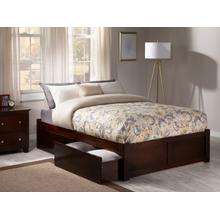 Concord Full Flat Panel Foot Board with 2 Urban Bed Drawers Walnut