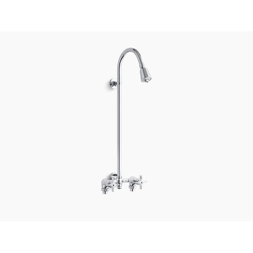 Polished Chrome Industrial Exposed Shower With R versible Yoke