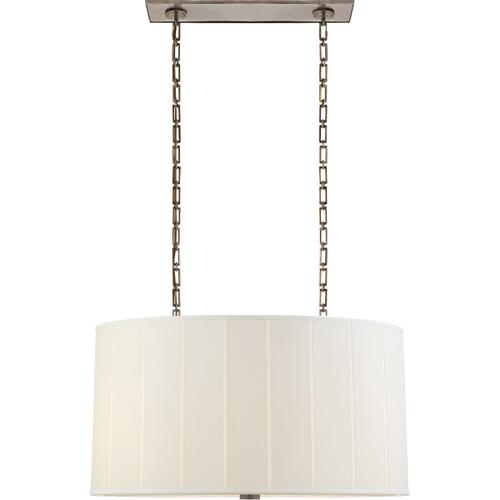 Visual Comfort - Barbara Barry Perfect Pleat 4 Light 36 inch Pewter Hanging Shade Ceiling Light, Oval