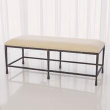 See Details - Quad Pod Bench w/Muslin Cushion-Natural Iron