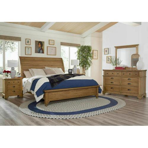 """Vaughan-Bassett - Queen """"Rogers"""" Sleigh Bed with low profile footboard"""