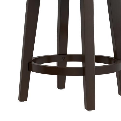 Benard Backless Swivel Wood Counter Height Stool, Deep Brown