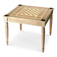 Play a variety of games on this stylish table that is veneered with a Driftwood finish. The top inset has a game board for chess and checkers. Flip the inset over and it converts to a green felt-lined blackjack table. Remove the insert altogether and the well (beneath the inset) is a back-gammon game board. Four glass holders on each corner. Chess and other game pieces are not included.
