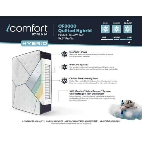 iComfort Hybrid - CF3000 Quilted - Plush - Pillow Top - Split Cal King