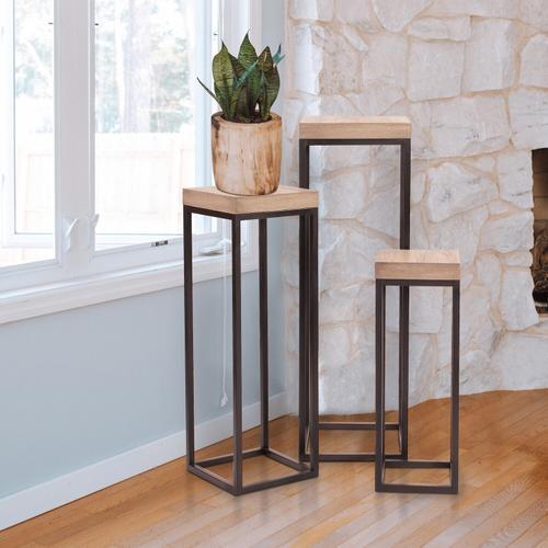 Howard Elliott - Wood & Metal Pedestals - Set of 3