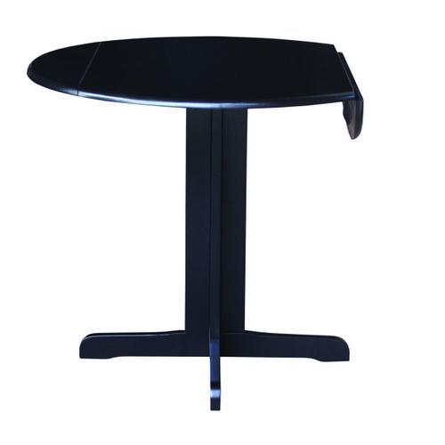 Gallery - Round Dropleaf Pedestal Table in Black