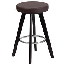 24'' High Contemporary Cappuccino Wood Counter Height Stool with Brown Vinyl Seat