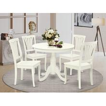5PC Round 36 inch Table and 4 vertical slatted Chairs