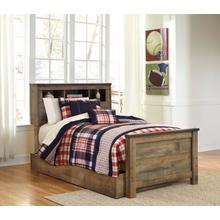 View Product - Trinell Twin Bed W/Bookcase Headboard & Under Bed Storage Brown