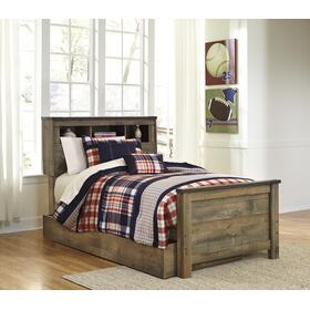 Trinell Twin Bed W/Bookcase Headboard & Under Bed Storage Brown