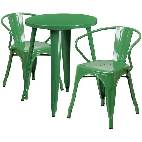 24'' Round Green Metal Indoor-Outdoor Table Set with 2 Arm Chairs