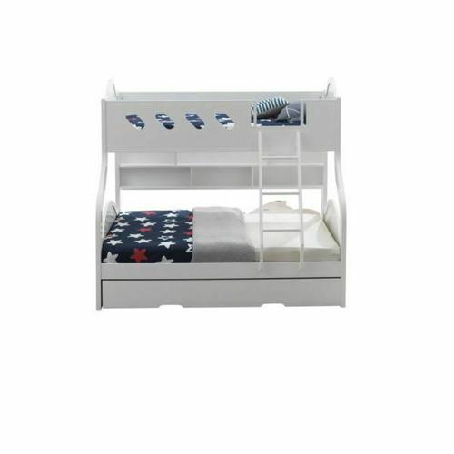 ACME Grover Twin/Full Bunk Bed (Storage) - 38160 - Country-Cottage, Provincial - Wood (Solid), Veneer (LVL), MDF - White