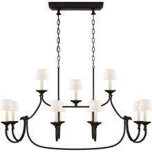 View Product - Chapman & Myers Flemish 1 Light 51 inch Aged Iron Linear Pendant Ceiling Light in Linen, Large