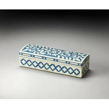 The small personal items that make life special: keepsakes, jewelry, cufflinks, all are comfortably cared for in this bone inlay storage box. The intricate handcrafted design make it perfect for him or her in rich blue with iridescent bone mosaic.