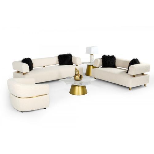 VIG Furniture - Divani Casa Gannet - Glam Beige Fabric Loveseat