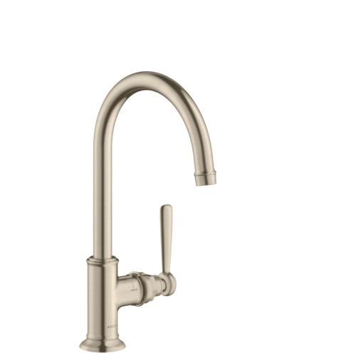 Brushed Nickel Single lever basin mixer 210 with lever handle and waste set