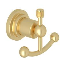 See Details - Campo Wall Mount Double Robe Hook - Satin Unlacquered Brass