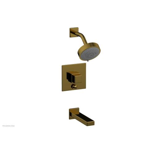MIX Pressure Balance Tub and Shower Set - Cube Handle 290-29 - French Brass