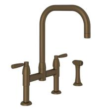 Holborn U-Spout Bridge Kitchen Faucet with Sidespray - English Bronze with Metal Lever Handle