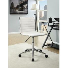 See Details - Modern White and Chrome Home Office Chair