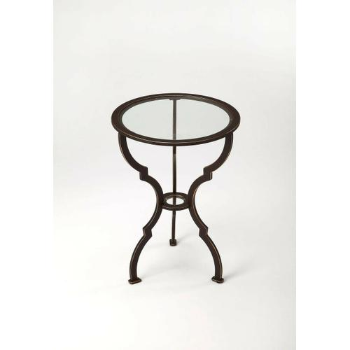 A fanciful hourglass base goes arabesque, buts keeps lines simple and open. O-ring stretcher and round glass top keep this end table open and airy. Durable iron frame in a black finish.