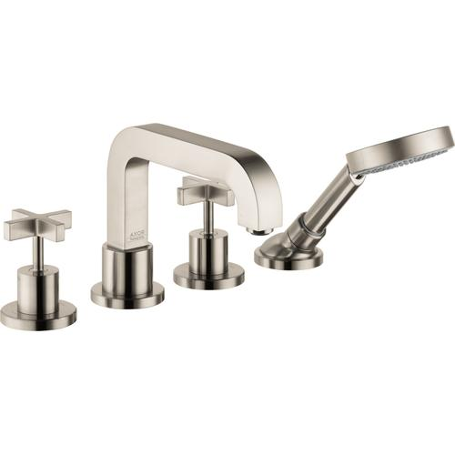 Brushed Nickel 4-Hole Roman Tub Set Trim with Cross Handles and 1.75 GPM Handshower