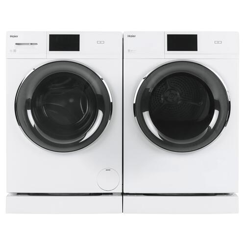 """Haier - 4.3 cu.ft. Capacity Smart 24"""" Frontload Electric Dryer with Stainless Steel Basket"""