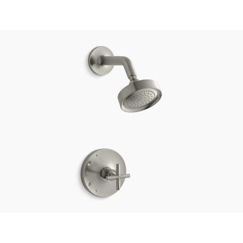 Kohler - Vibrant Brushed Nickel Rite-temp Shower Trim With Cross Handle and 2.5 Gpm Showerhead