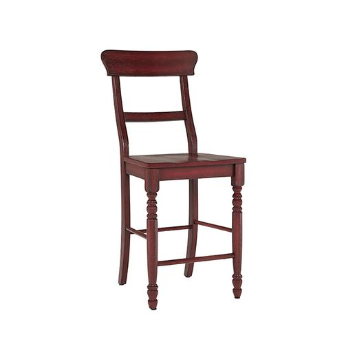 Counter Chair- 2/CTN- Antique Red - Antique White Finish