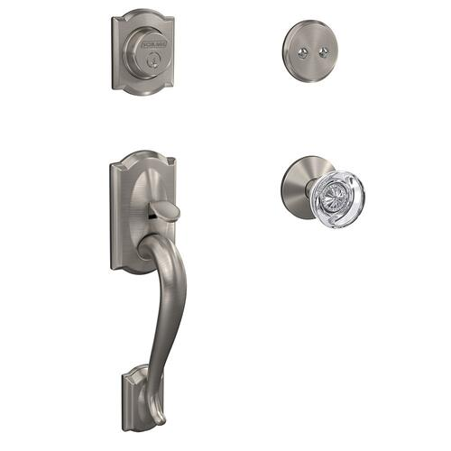 Custom Camelot Inactive Handleset with Hobson Glass Knob and Kinsler Trim - Satin Nickel