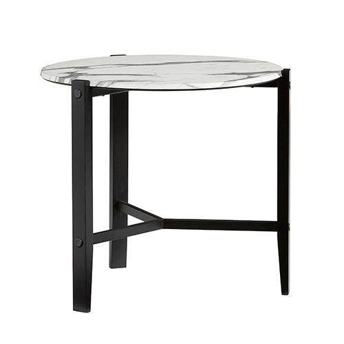 End Table - Chantilly White/ Black Finish