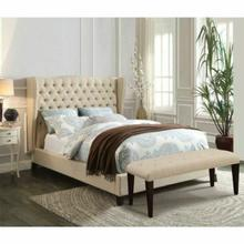 ACME Faye Eastern King Bed - 20647AEK - Beige Linen & Espresso