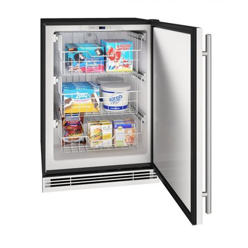 """U-Line - Hfz124 24"""" Convertible Freezer With Stainless Solid Finish (115v/60 Hz Volts /60 Hz Hz)"""