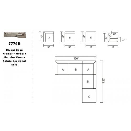 VIG Furniture - Divani Casa Kramer - Modern Modular Cream Fabric Sectional Sofa