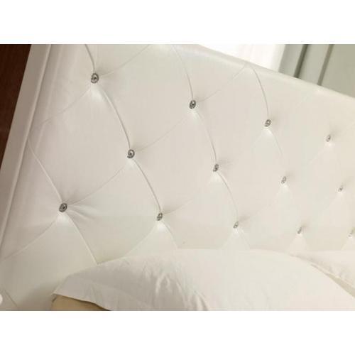 VIG Furniture - Modrest Monte Carlo - White Leatherette Modern Twin Bed with Crystals