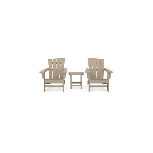 Polywood Furnishings - Wave 3-Piece Adirondack Chair Set in Vintage Sahara
