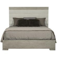 Queen Linea Upholstered Channel Bed in Cerused Greige (384)