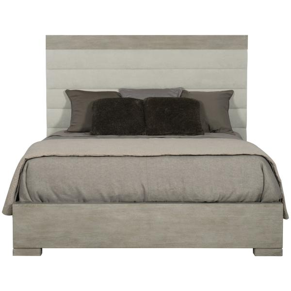 See Details - Queen-Sized Linea Upholstered Channel Bed in Cerused Greige (384)