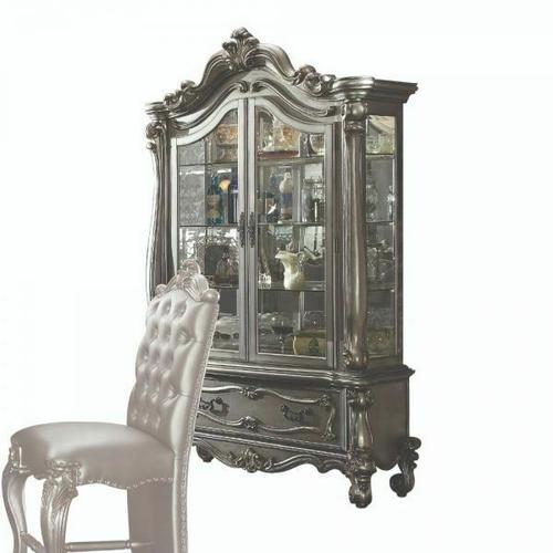 ACME Versailles Curio Cabinet - 66838 - Antique Platinum
