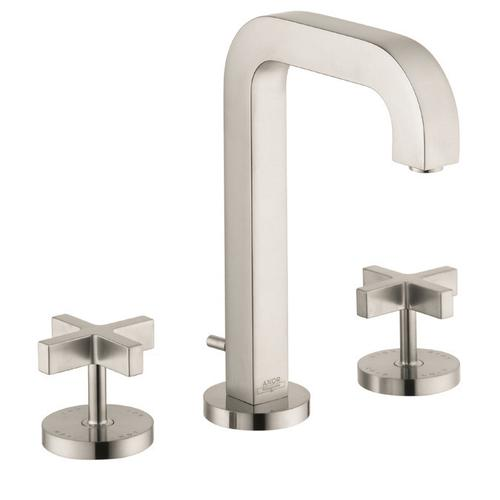 Brushed Nickel Widespread Faucet 170 with Cross Handles and Pop-Up Drain, 1.2 GPM