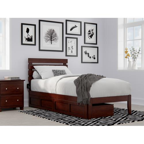 Atlantic Furniture - Oxford Twin Extra Long Bed with USB Turbo Charger and 2 Extra Long Drawers in Walnut