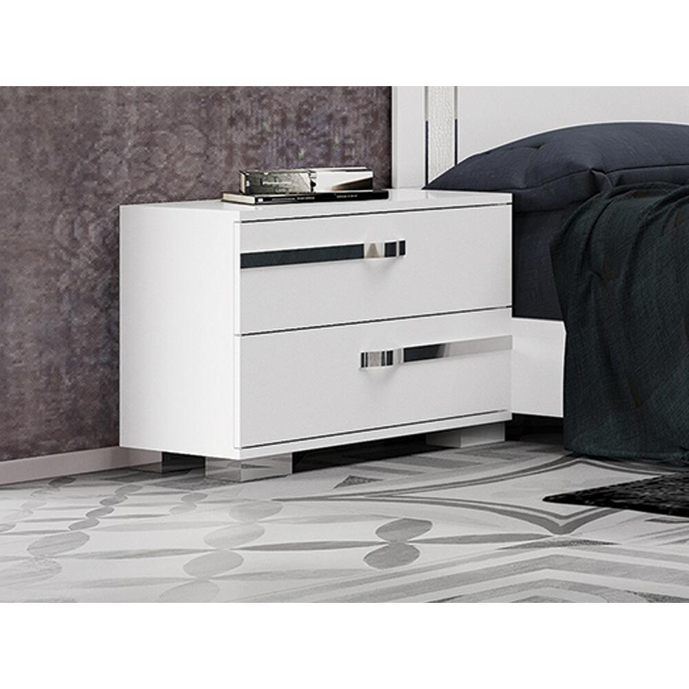 The Wave Nightstand In High Gloss White Melamine With Chrome Trim