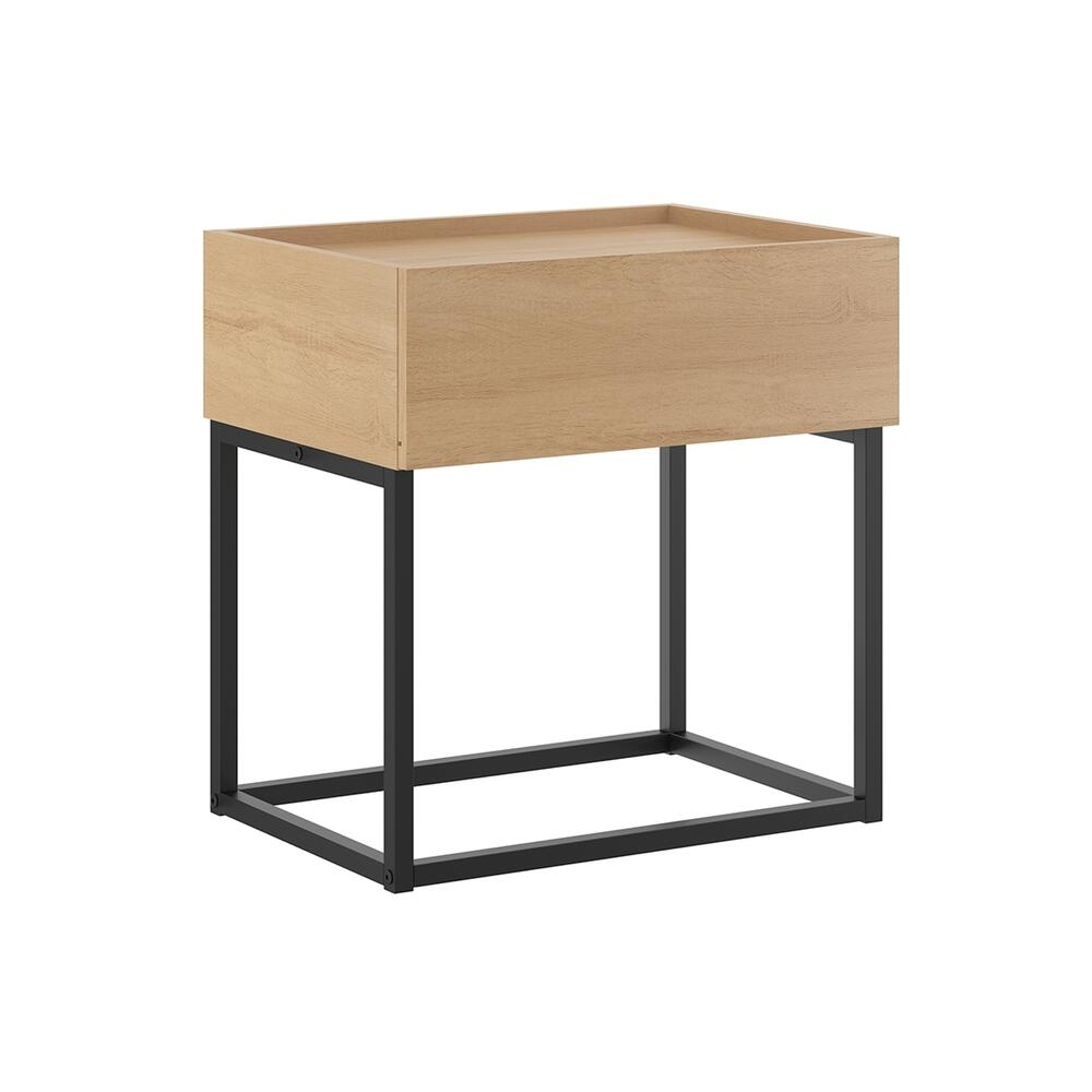 The Noa Nightstand Part Of Our Kd Collection In Birch Melamine With Black Metal Painted Frame