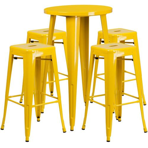 24'' Round Yellow Metal Indoor-Outdoor Bar Table Set with 4 Square Seat Backless Stools