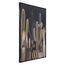 See Details - Cactus At Dusk Canvas Black & Gold