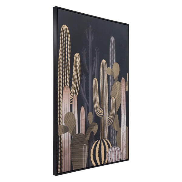 Cactus At Dusk Canvas Black & Gold